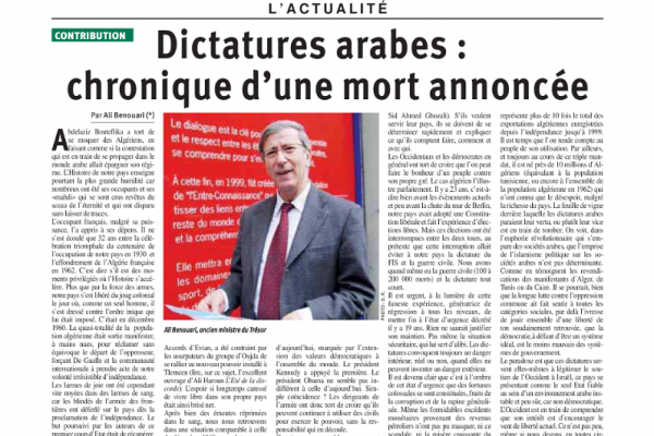 Dictatures arabes : Chronique d'une mort annoncée