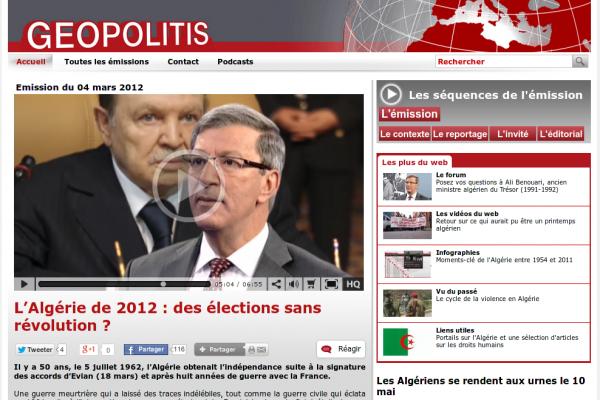 Invité de l'émission Géopolitis de la Télévision suisse sur les élections législatives algériennes du 10 Mai 2012