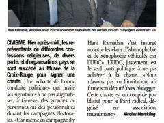 Musulmans, israélites, chrétiens, gays et plusieurs partis ont signé une charte de bonne conduite