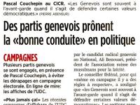 Des partis genevois prônent la «bonne conduite» en politique