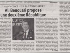 Journal El Watan : «Ali Benouari propose une deuxième République»