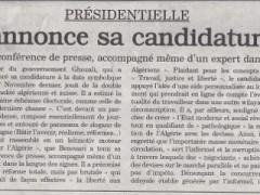 Journal l'Actualité : Benouari Annonce sa candidature officielle