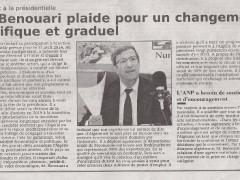 Journal Le Temps d'Algérie : Ali Benouari plaide pour un changement graduel et pacifique