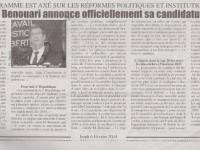Journal Nation : Ali Benouari axe son programme sur les réformes politiques et institutionnelles