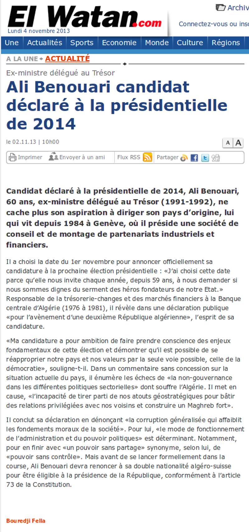 Ali Benouari, El Watan : Annonce de candidature