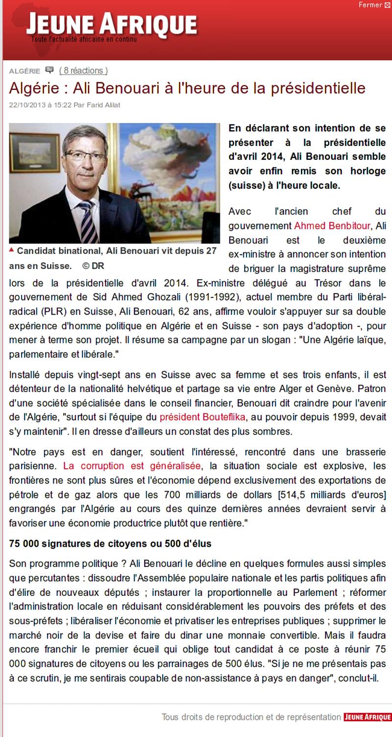 Ali Benouari, Jeune Afrique : A l'heure de la présidentielle